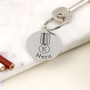 Our Hero Personalised Round Pewter Keyring - Multiply Design