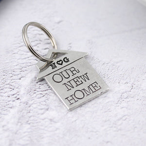 Our New Home Housewarming Gift Personalised Pewter Keyring Gift - Multiply Design