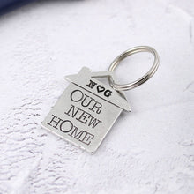 Load image into Gallery viewer, Our New Home Housewarming Gift Personalised Pewter Keyring Gift - Multiply Design