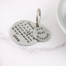 Load image into Gallery viewer, Personalised 21st Birthday Gift Round Calendar Pewter Keyring - Multiply Design