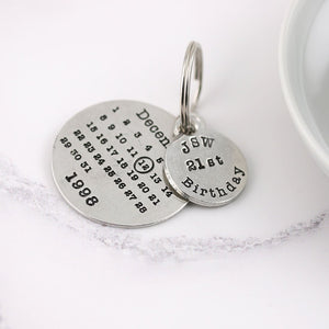 Personalised 21st Birthday Gift Round Calendar Pewter Keyring - Multiply Design