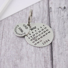 Load image into Gallery viewer, Personalised Anniversary Gift Round Calendar Keyring - Multiply Design