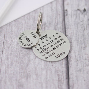 Personalised Anniversary Gift Round Calendar Keyring - Multiply Design
