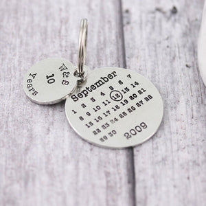 Personalised Anniversary Year Round Calendar Keyring - Multiply Design