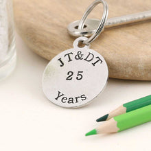 Load image into Gallery viewer, Personalised Anniversary Year Round Pewter Keyring - Multiply Design