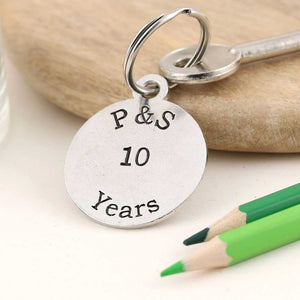 Personalised Anniversary Year Round Pewter Keyring - Multiply Design