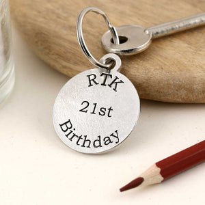 Personalised Birthday Gift Round Pewter Keyring - Multiply Design