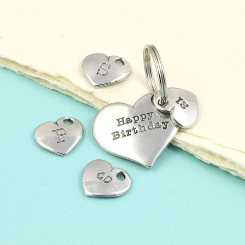 Personalised Birthday Year Gift Pewter Heart Keyring - Multiply Design