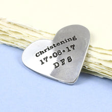 Load image into Gallery viewer, Personalised Christening Gift Pewter Heart Token - Multiply Design