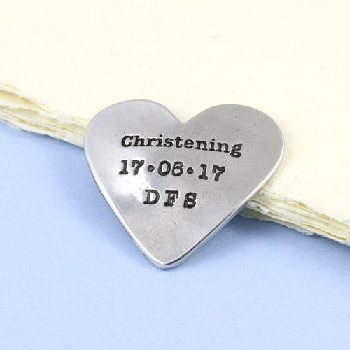 Personalised Christening Gift Pewter Heart Token - Multiply Design