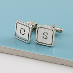 Personalised Initial Monogrammed Square Pewter Cufflinks. - Multiply Design