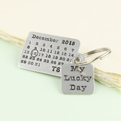 Personalised Lucky Day Pewter Calendar Keyring - Multiply Design