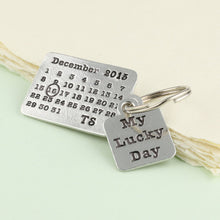 Load image into Gallery viewer, Personalised Lucky Day Pewter Calendar Keyring - Multiply Design