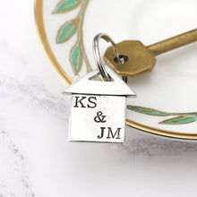 Load image into Gallery viewer, Personalised New Home Gift Housewarming Gift Pewter keyring - Multiply Design