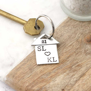Personalised New Home Gift Housewarming Gift Pewter keyring - Multiply Design