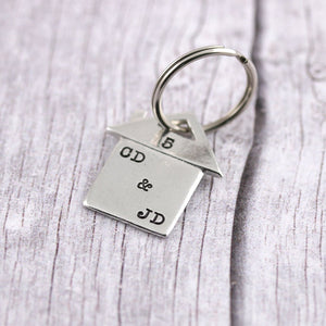 Personalised New Home Housewarming Gift Initials Pewter keyring - Multiply Design