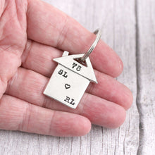 Load image into Gallery viewer, Personalised New Home Housewarming Gift Initials Pewter keyring - Multiply Design