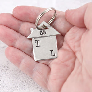 Personalised New Home Housewarming Gift Pewter keyring - Multiply Design
