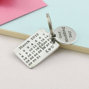 Personalised Our Wedding Day Pewter Calendar Keyring. - Multiply Design