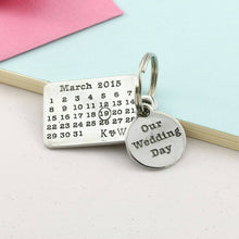 Load image into Gallery viewer, Personalised Our Wedding Day Pewter Calendar Keyring. - Multiply Design