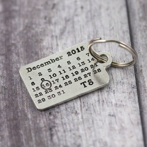 Personalised Pewter Calendar Keyring Anniversary Gift. - Multiply Design