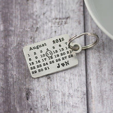 Load image into Gallery viewer, Personalised Pewter Calendar Keyring Anniversary Gift. - Multiply Design