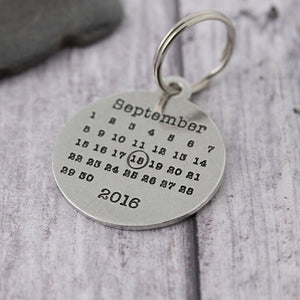 Personalised Pewter Round Calendar Keyring - Multiply Design