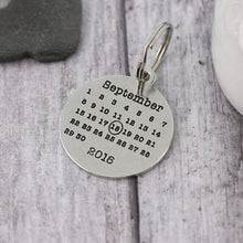 Load image into Gallery viewer, Personalised Pewter Round Calendar Keyring - Multiply Design