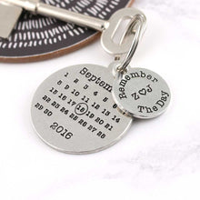 Load image into Gallery viewer, Personalised Remember The Day Round Pewter Calendar Keyring - Multiply Design