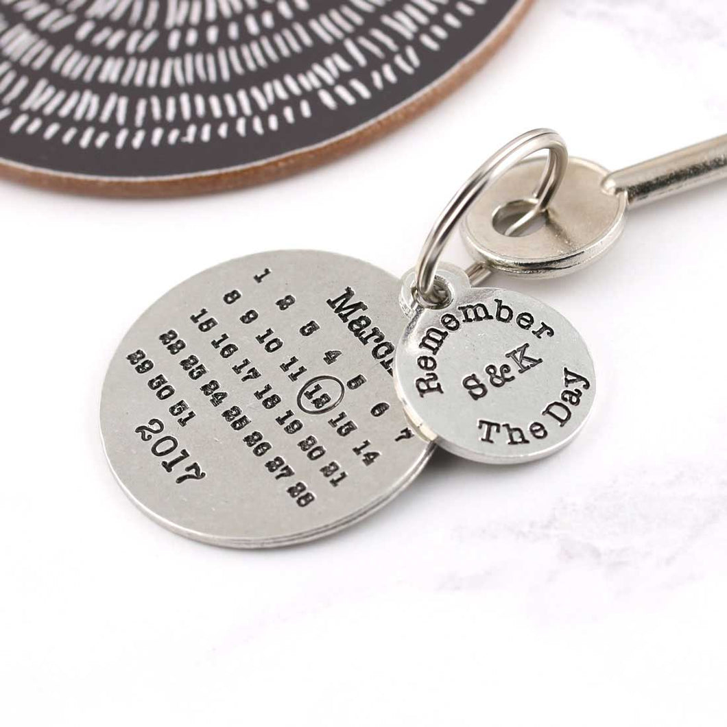 Personalised Remember The Day Round Pewter Calendar Keyring - Multiply Design