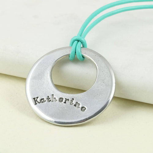 Personalised Round necklace in Pewter on Greek Leather thong. - Multiply Design