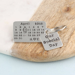 Personalised Special Day Pewter Calendar Keyring - Multiply Design