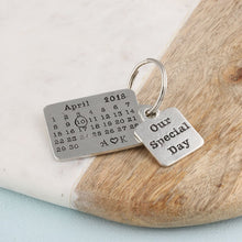 Load image into Gallery viewer, Personalised Special Day Pewter Calendar Keyring - Multiply Design