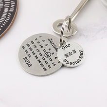 Load image into Gallery viewer, Personalised Special Day Round Pewter Calendar Keyring - Multiply Design