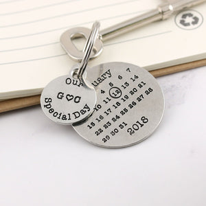 Personalised Special Day Round Pewter Calendar Keyring - Multiply Design