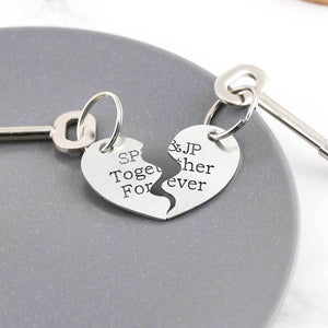 Personalised Split Heart Keyring Gift for Couples - Multiply Design