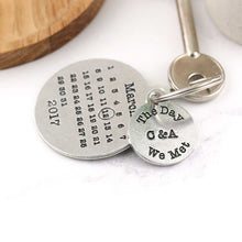 Load image into Gallery viewer, Personalised The Day We Met Round Pewter Calendar Keyring - Multiply Design