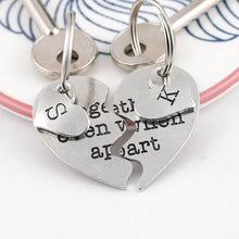 Load image into Gallery viewer, Personalised Togetherness Two Piece Pewter Heart Keyring Couples Gift. - Multiply Design