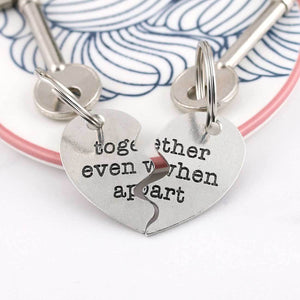 Personalised Togetherness Two Piece Pewter Heart Keyring Couples Gift. - Multiply Design