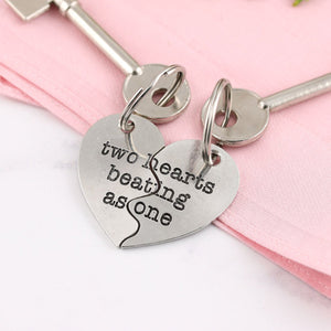 Personalised Two Hearts as One Pewter Split Heart Keyring Couples Gift. - Multiply Design