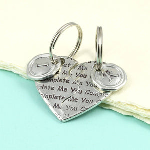 Personalised Two Piece Pewter Heart Keyring. - Multiply Design