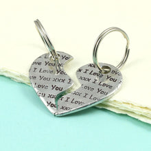 Load image into Gallery viewer, Personalised Two Piece Pewter Heart Keyring. - Multiply Design