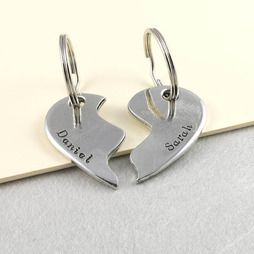 Personalised Two Piece Pewter Keyring Gift for Couples - Multiply Design