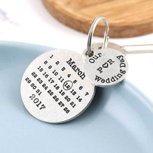 Load image into Gallery viewer, Personalised Wedding Day Round Pewter Calendar Keyring - Multiply Design