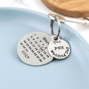 Personalised Wedding Day Round Pewter Calendar Keyring - Multiply Design