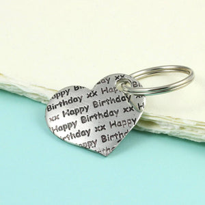 Pewter Happy Birthday Pocket Heart Keyring Birthday Gift - Multiply Design