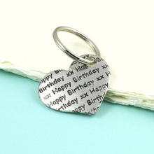 Load image into Gallery viewer, Pewter Happy Birthday Pocket Heart Keyring Birthday Gift - Multiply Design