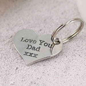 Pewter Pocket Heart Keyring Gift for Dad - Multiply Design