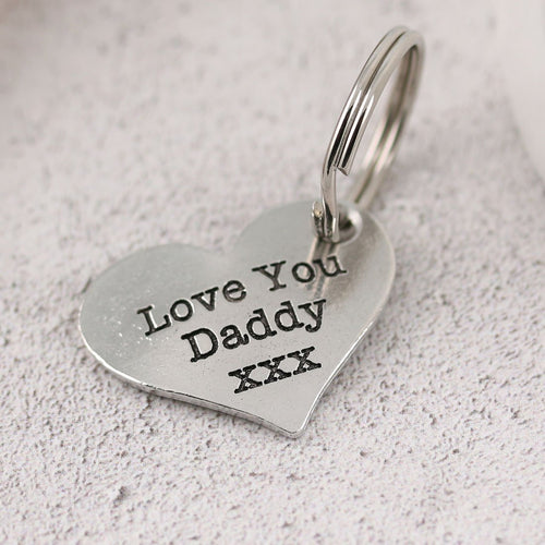 Pewter Pocket Heart Keyring Gift for Daddy from Child - Multiply Design