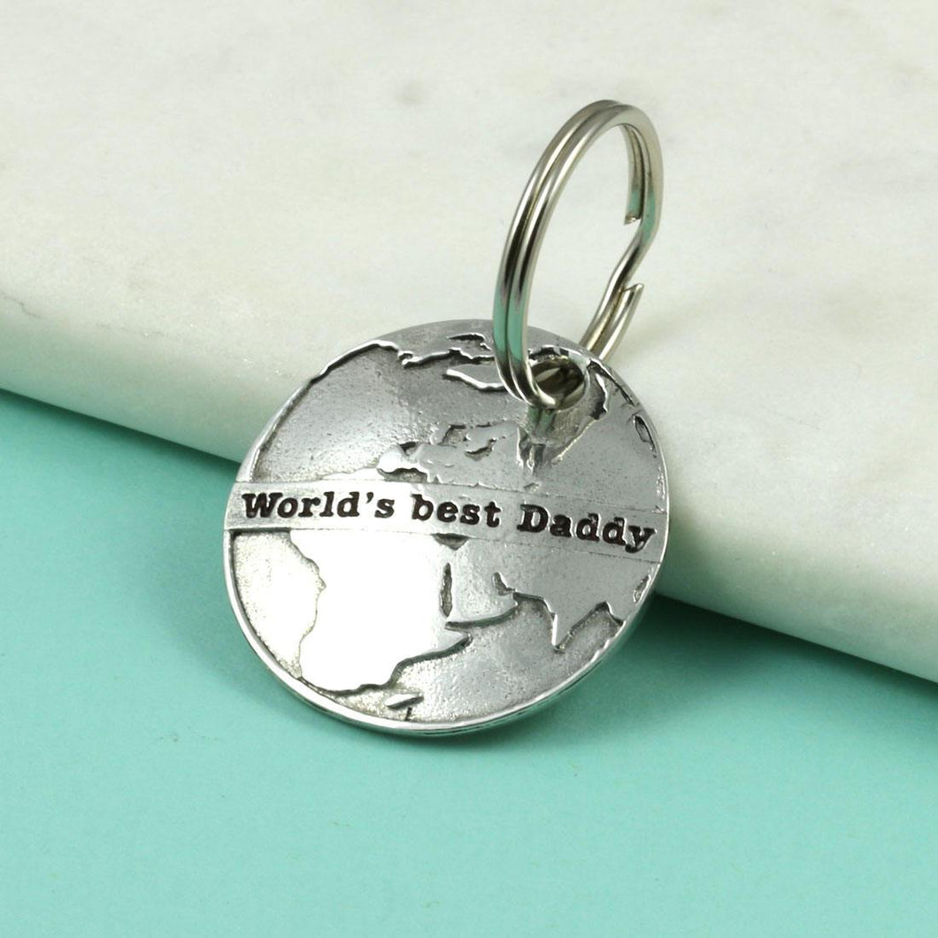 Pewter World's Best Daddy Personalised Keyring Gift - Multiply Design
